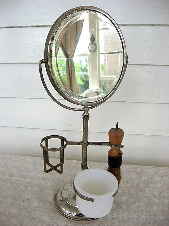 Vintage 1920 S Shaving Mirror On Stand W Brush Soap Cup