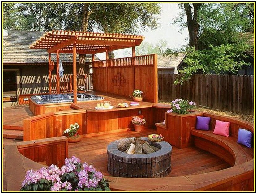 Deck Designs With Fire Pit Hot Tub Backyard Hot Tub Patio Hot Tub Designs