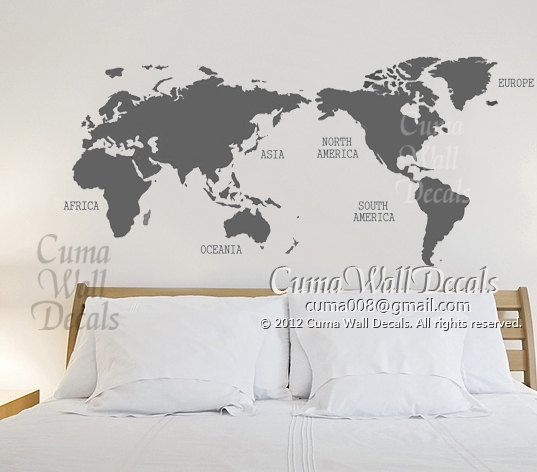 Map Of World Vinyl Wall Decals Wall Mural Wall Sticker Urben   World Map  Z150 By