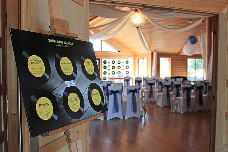 Terry Fox for a Music Themed Wedding at Styal Lodge - Sara & Josh. Table seating plan.    Image by Sophie Kerr Photography.  Read more: http://bridesupnorth.com/2015/11/18/love-is-all-you-need-terry-fox-for-a-music-themed-wedding-at-styal-lodge-sara-josh/
