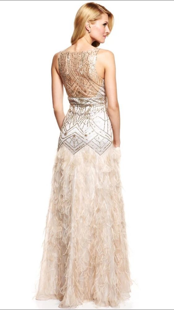 SUE WONG GATSBY 1920\'s Champagne Silver Sequin Feather Wedding Ball ...