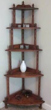 Vintage Corner Wooden Shelves For Sale