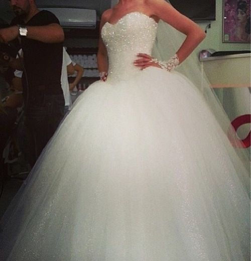 All Over Sparkly Top Ball Gown Style Wedding Dress