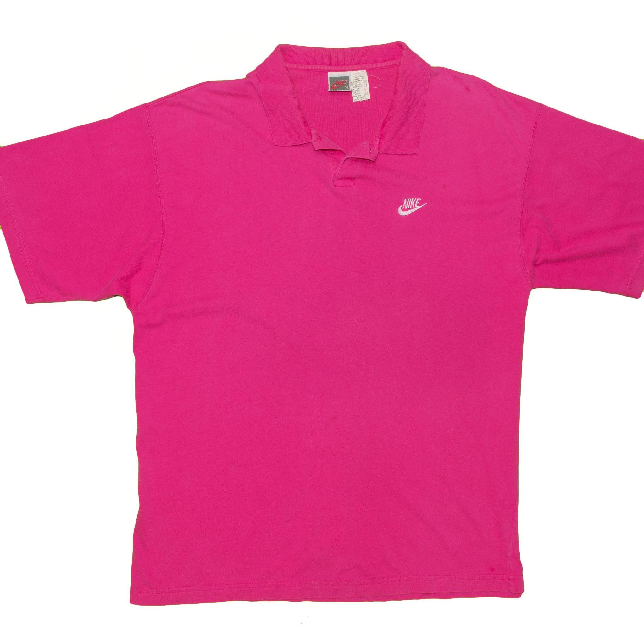 Vintage 80's 90's Nike Polo Shirt Men's XLarge Pink Short