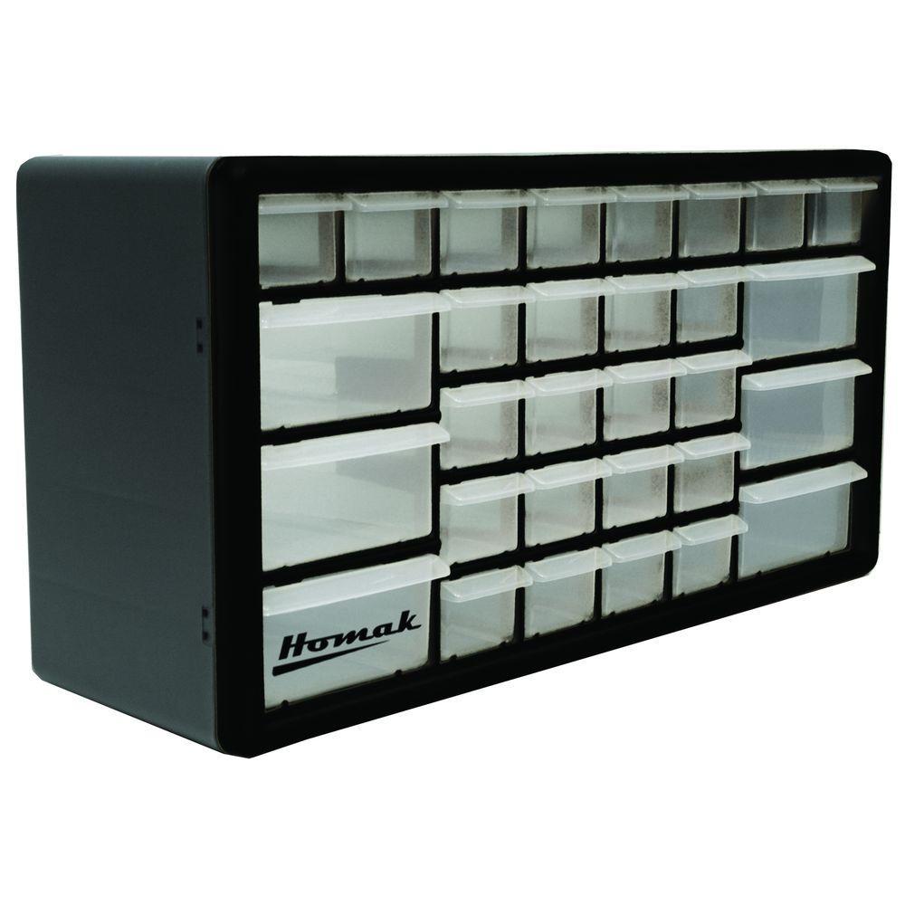 Homak 30 Compartment Non Stackable Organizer Black Ha01030102