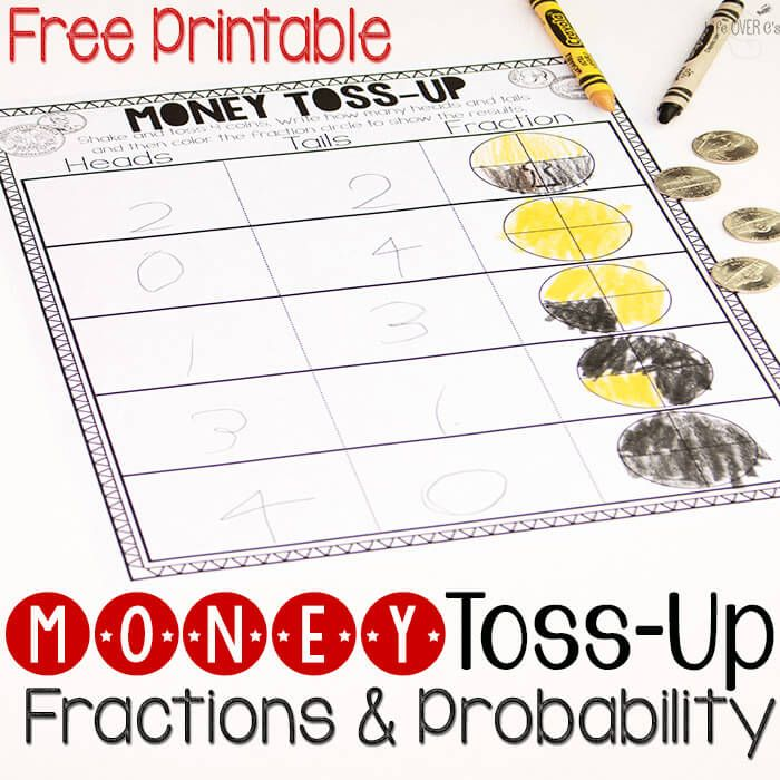 math worksheet : free money fractions and probability activity  free money math  : Fractions For 2nd Graders Games