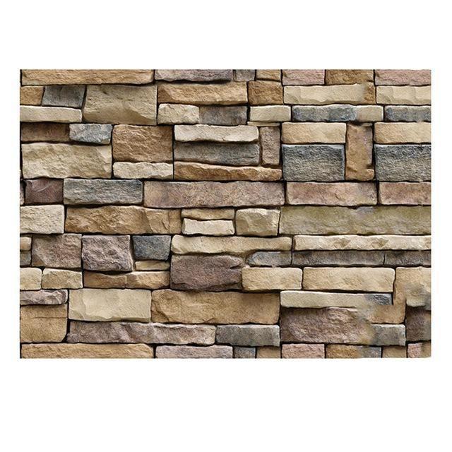 45x100cm 3D PVC Wood Sticker Grain Brick Stone wall paper Rustic Self-adhesive~