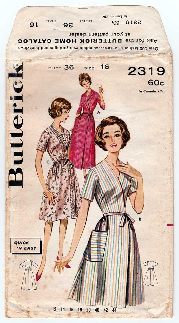 Vintage 1960\'s Butterick 2319 Women\'s Wrap Dress or Robe Sewing ...