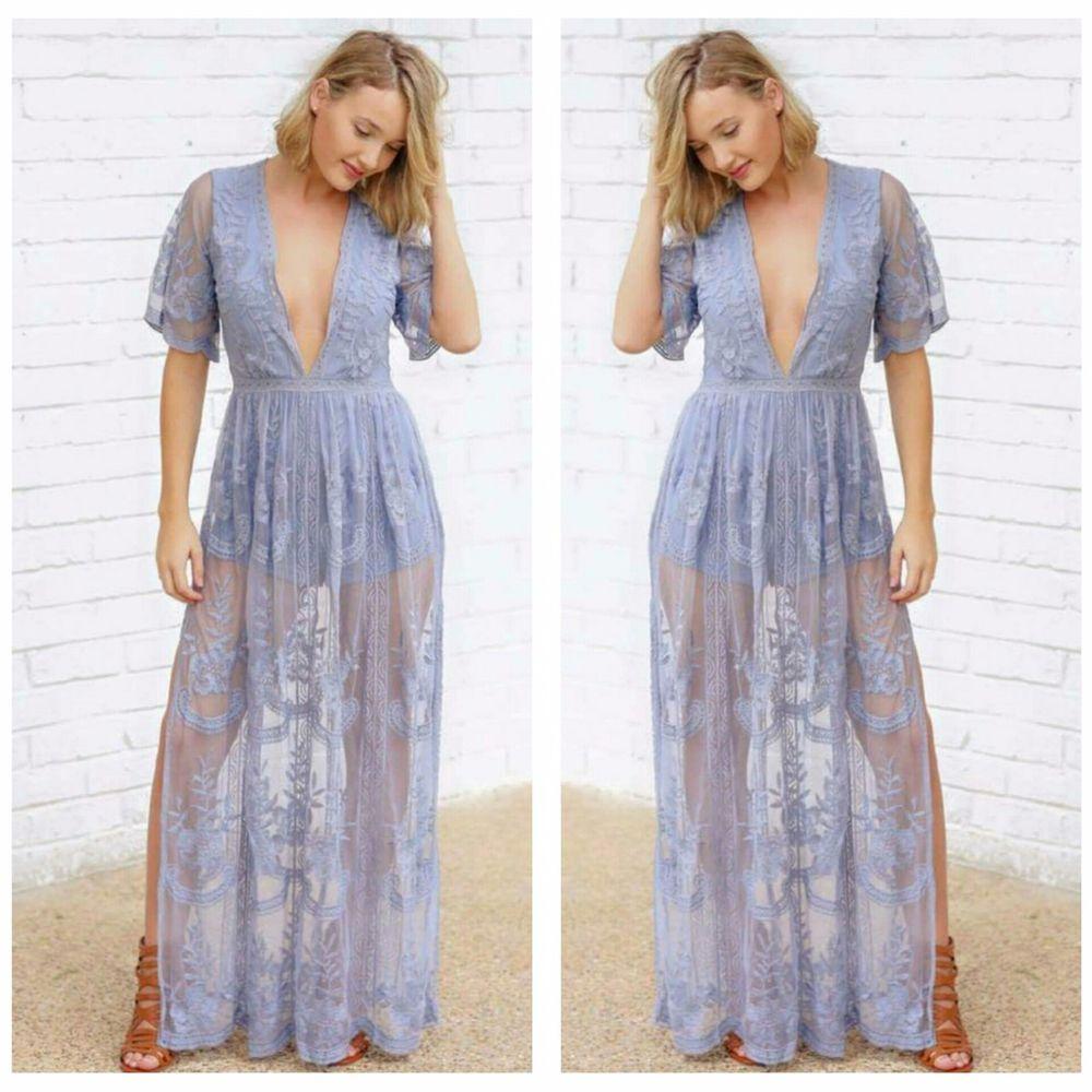 6bfdd45b95c PREORDER Honey Punch Dress S M L Dusty Blue Lace Bohemian Romper Maxi Dress   Boutique  Maxi  CasualDateOccasion