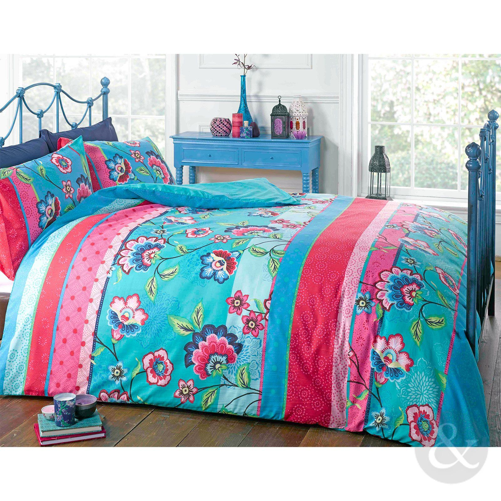 RETRO ORIENTAL DUVET COVER - Floral Reversible Teal Blue & Pink ...