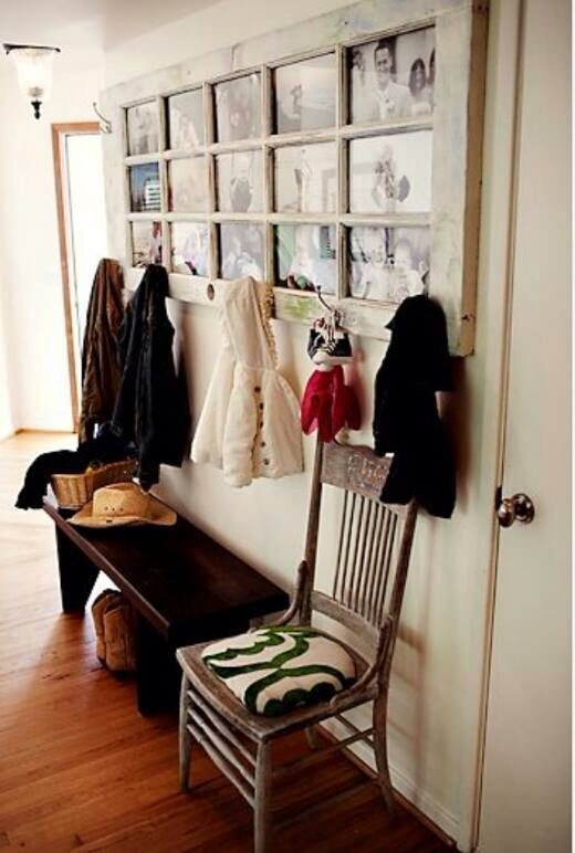Shabby chic style old door photo frame with coat hooks. Would be ...