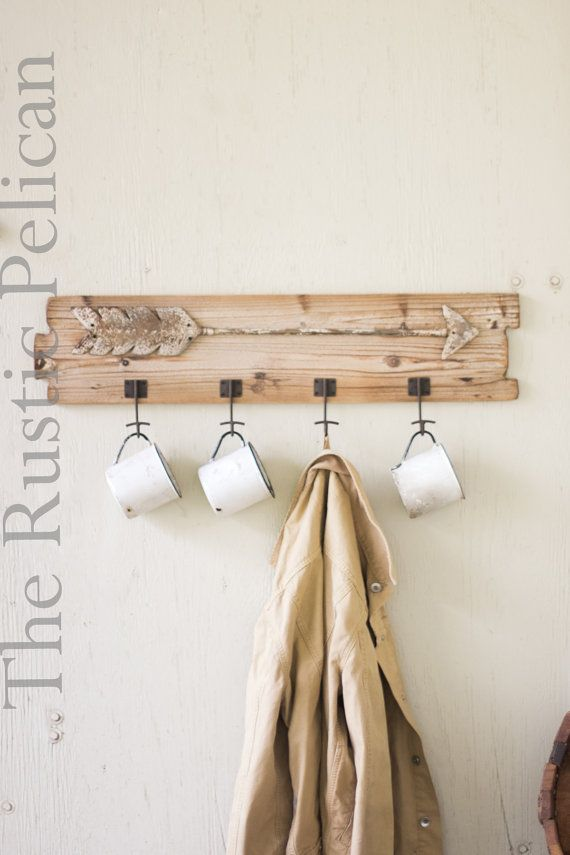 Rustic Coat Rack Wood Cup Rack-Metal Arrow by ...