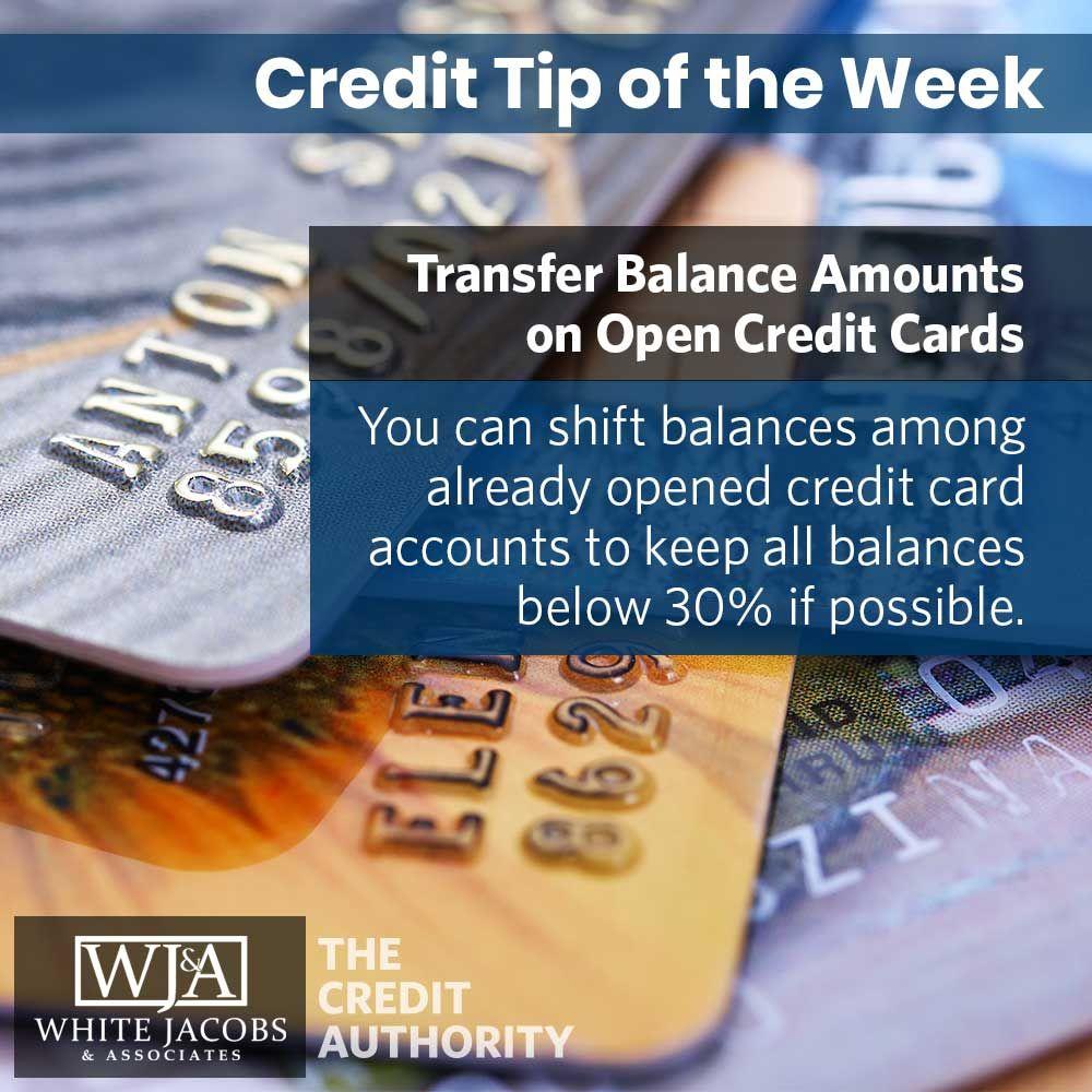 Credit tip transfer balance amounts on open credit