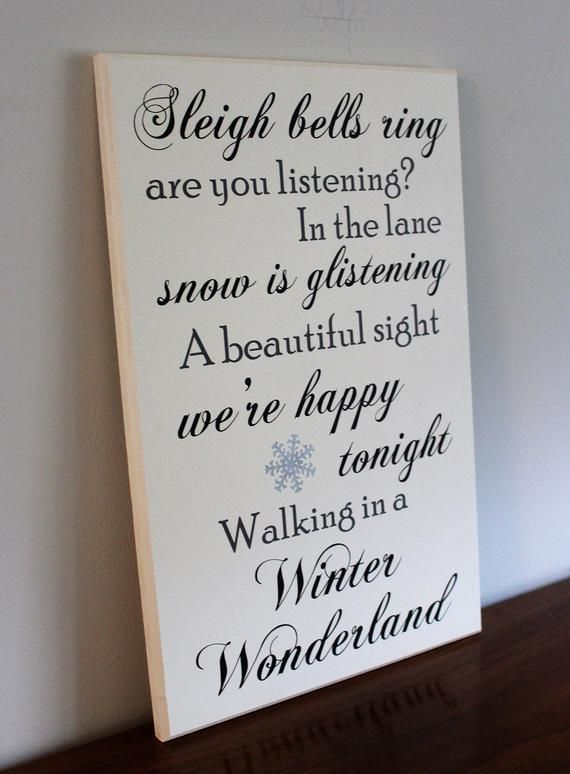 walking in a winter wonderland lyrics sign sleigh bells ring christmas carol wood sign hand painted christmas gift idea for her