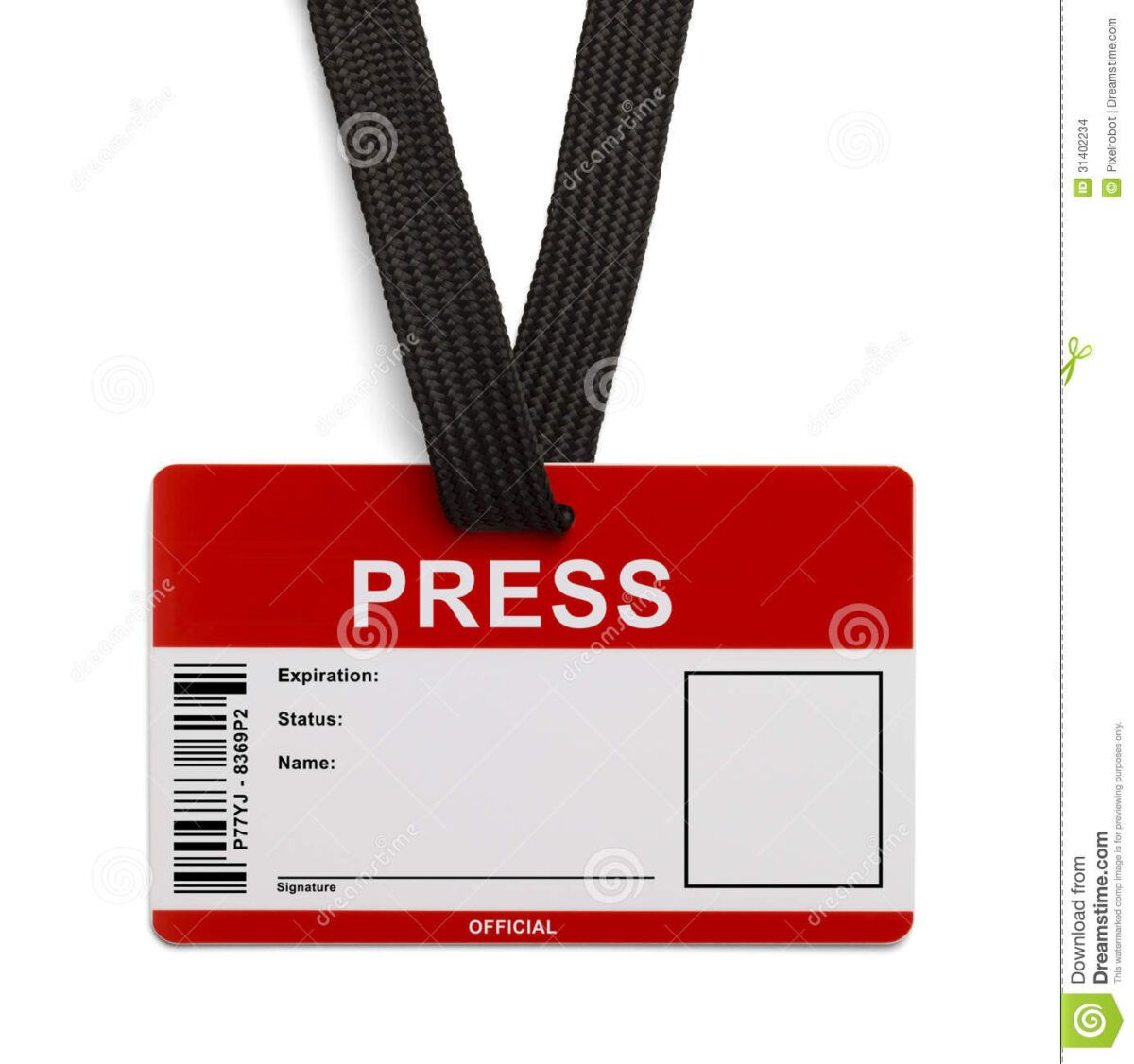 Press Id Card Stock Photo Image Of Label Broadcasting In Media Id Card Templates Id Card Template Card Templates Business Card Template Word
