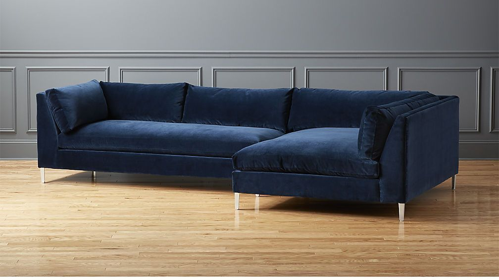 Decker 2 Piece Blue Velvet Sectional Sofa Cb2 Love This With A Navy Wall All Things Water Colors Sectional Sofa Velvet Sectional Best Leather Sofa
