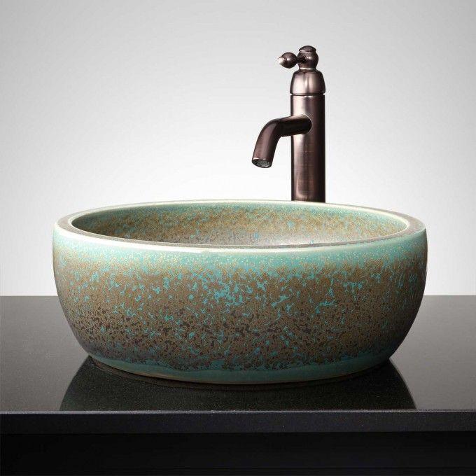 Tasmin Hand Glazed Vessel Sink   Light Gray   Bathroom