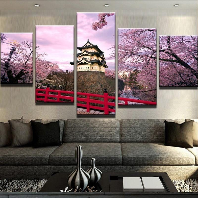 Green Nature Abstract Background Canvas Print Painting Home Decor Wall Art 5Pcs