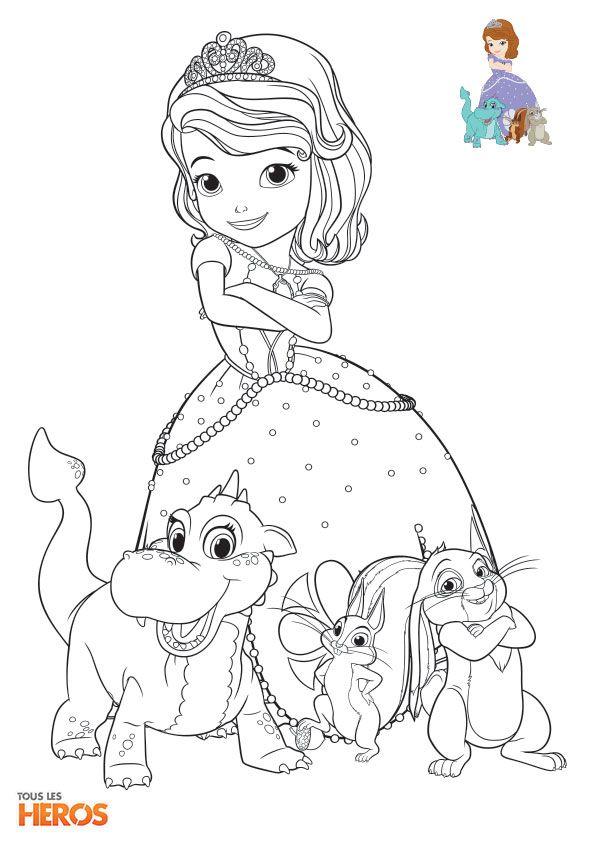 Coloriage De Princesse Sofia A Imprimer.Coloriages Sofia La Princesse Et Tous Ses Petits Animaux De