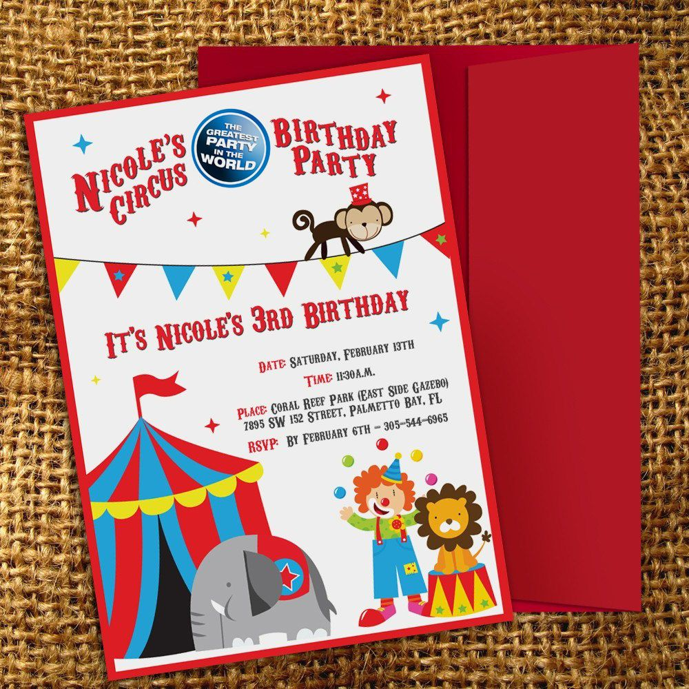 Circus Birthday Party Invitation  Party Love    Circus