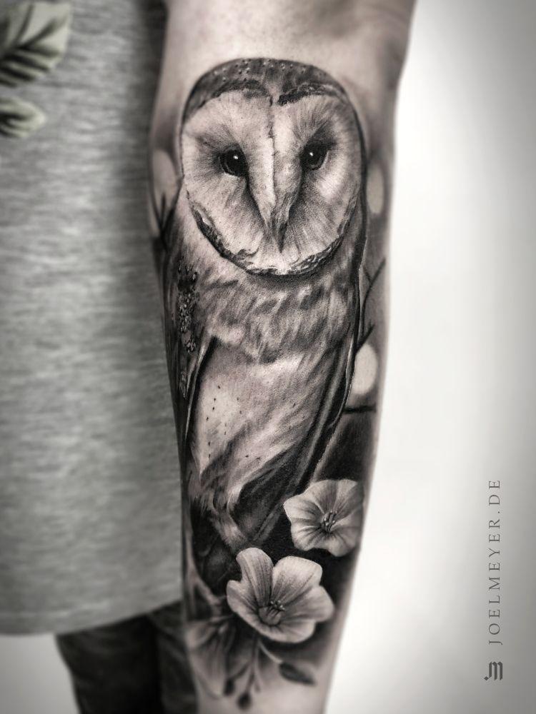 Barn Owl Realistic Tattoo Black And Grey Tatuagem Coruja Tatuagens De Coruja Na Coxa Tatuagem Preta