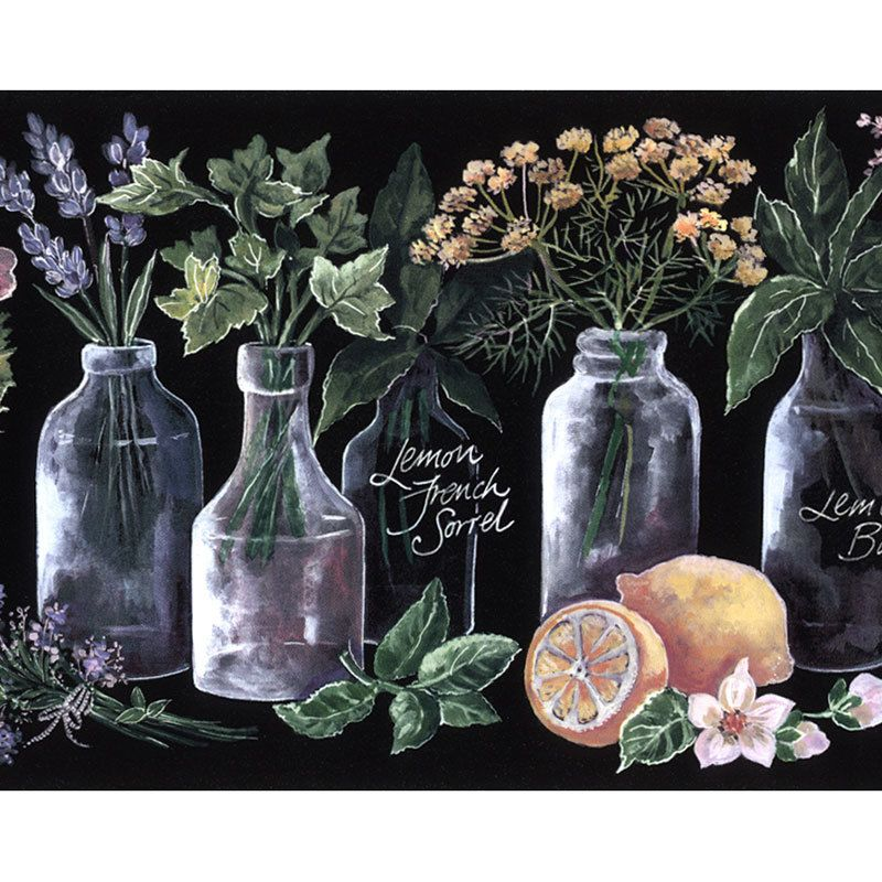 Norwall KK79374 Wallpaper Border Lemon Herbs Kitchen Black