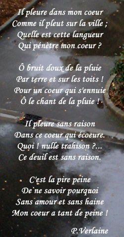 Il Pleure Dans Mon Coeur By Paul Verlaine Poeme Francais