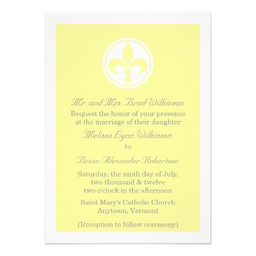 Chic Fleur De Lis Wedding Invite, Yellow Card - best of invitation cards for wedding price