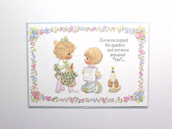 vintage 90s precious moments engagement wedding shower greeting card someone popped the question someone answered yes congratulations