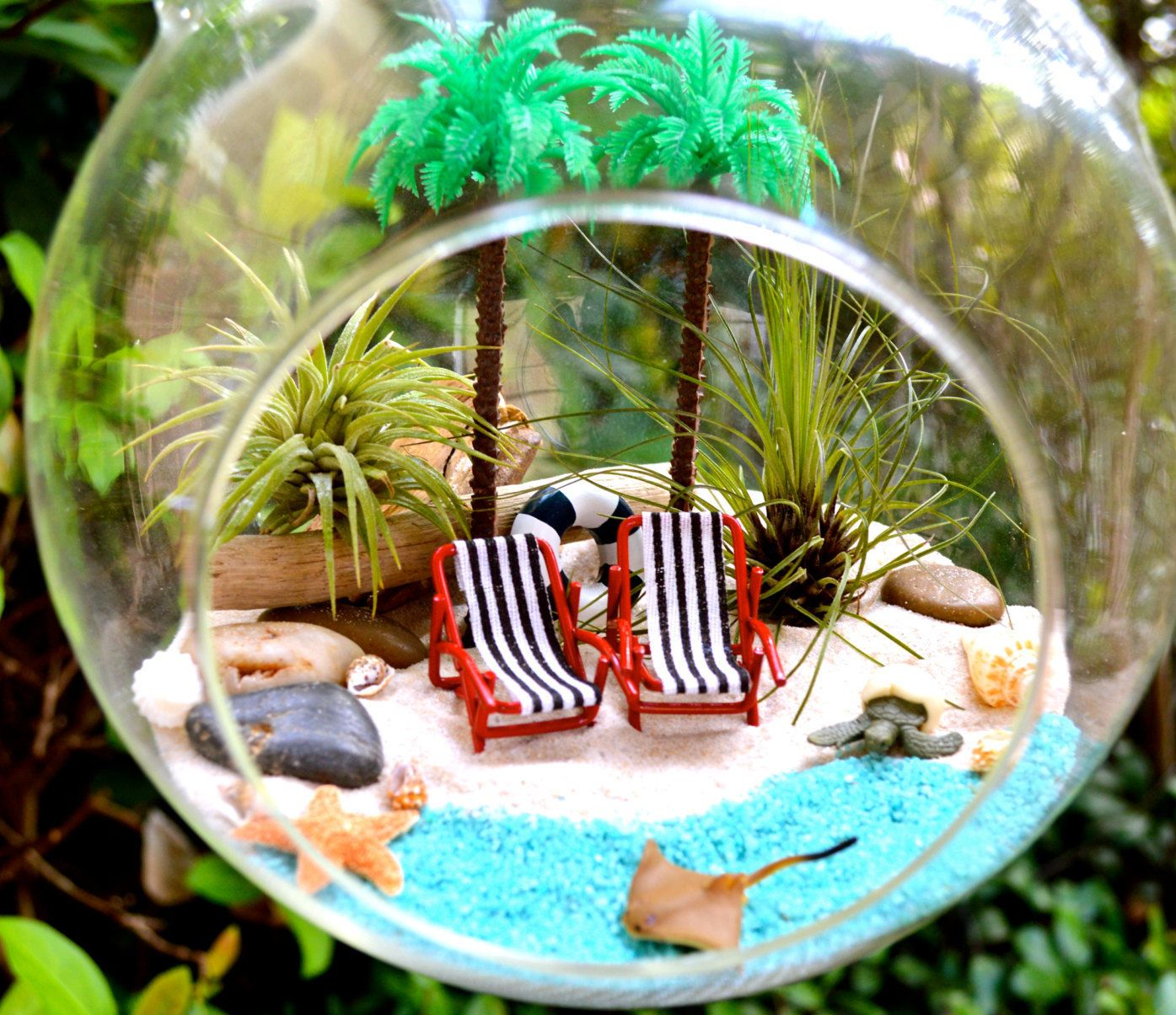 Resort Beach Terrarium Kit ~ 2 Tall Palm Trees ~ 2 Beach Chairs ~ 2 ...