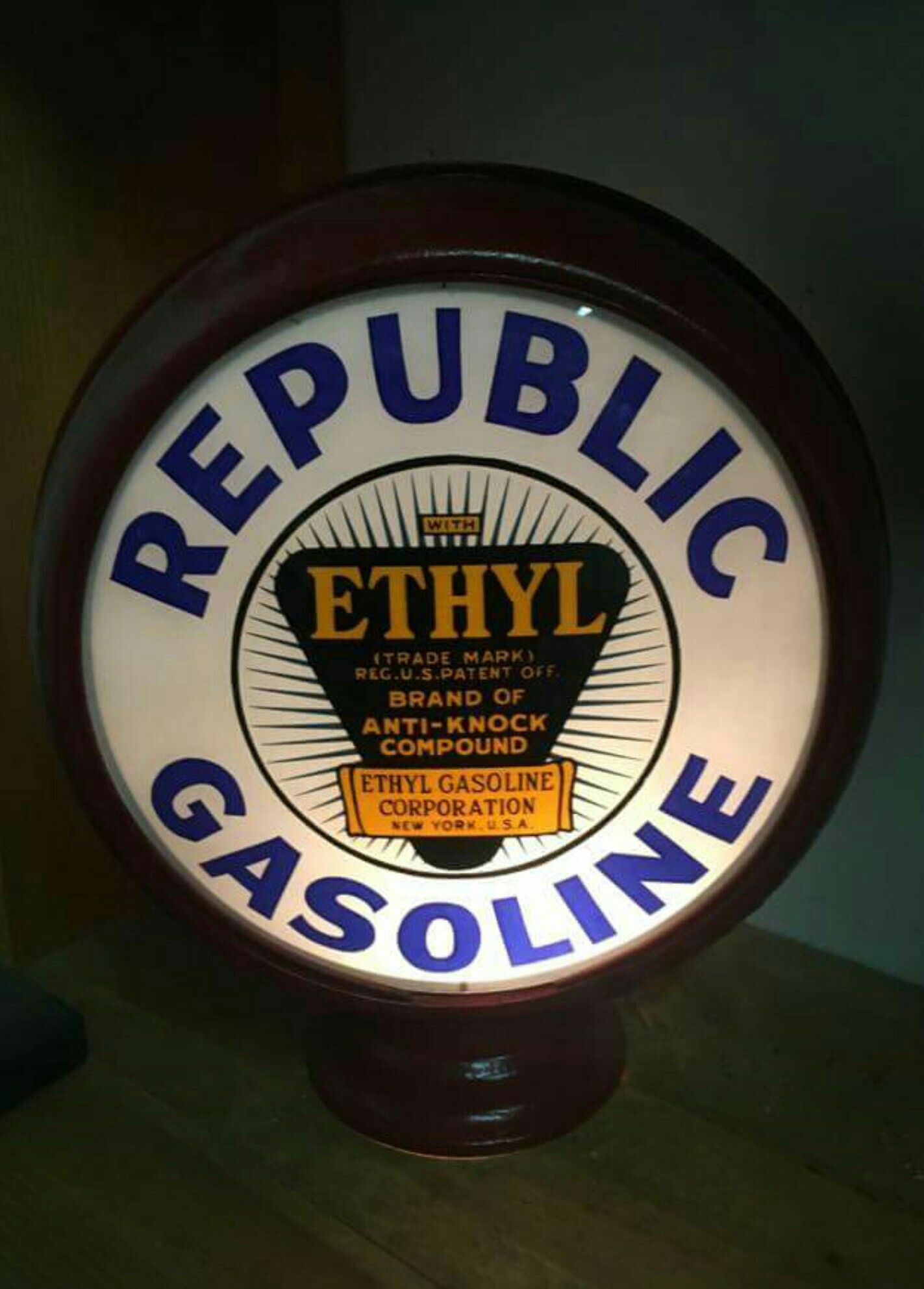 Rare Original Republic Ethyl Gas Globe | Gas Globes & Gas