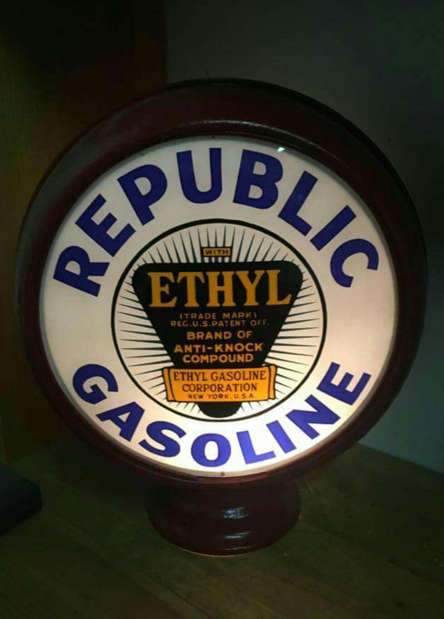 Rare Original Republic Ethyl Gas Globe | Gas Globes & Gas Pumps