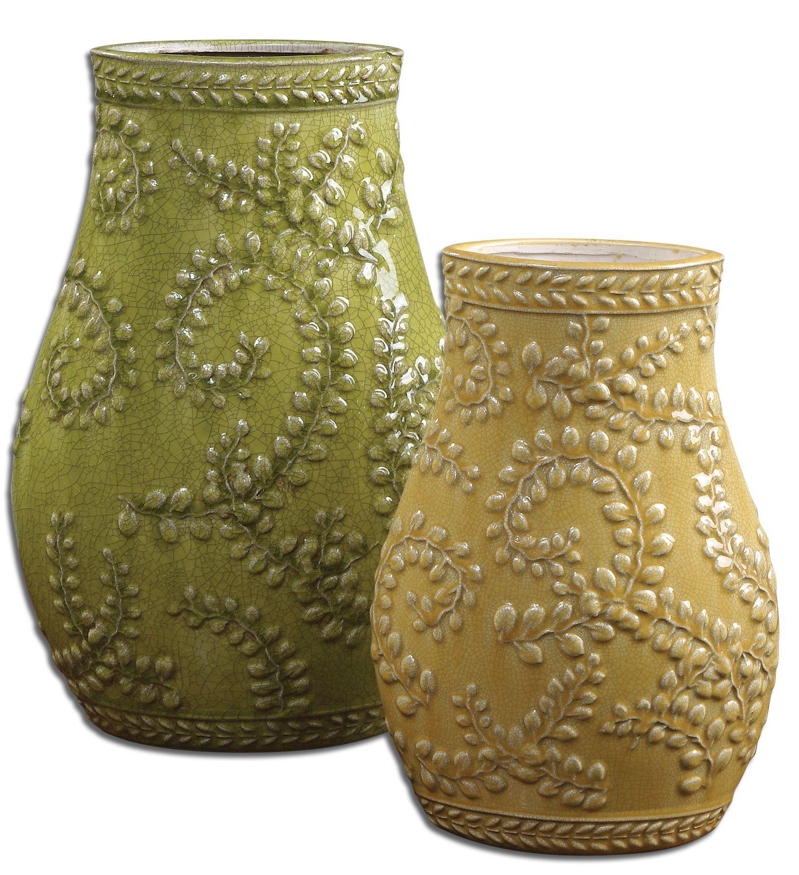 Uttermost Trailing Leaves Ceramic Vases, Set/2 19695