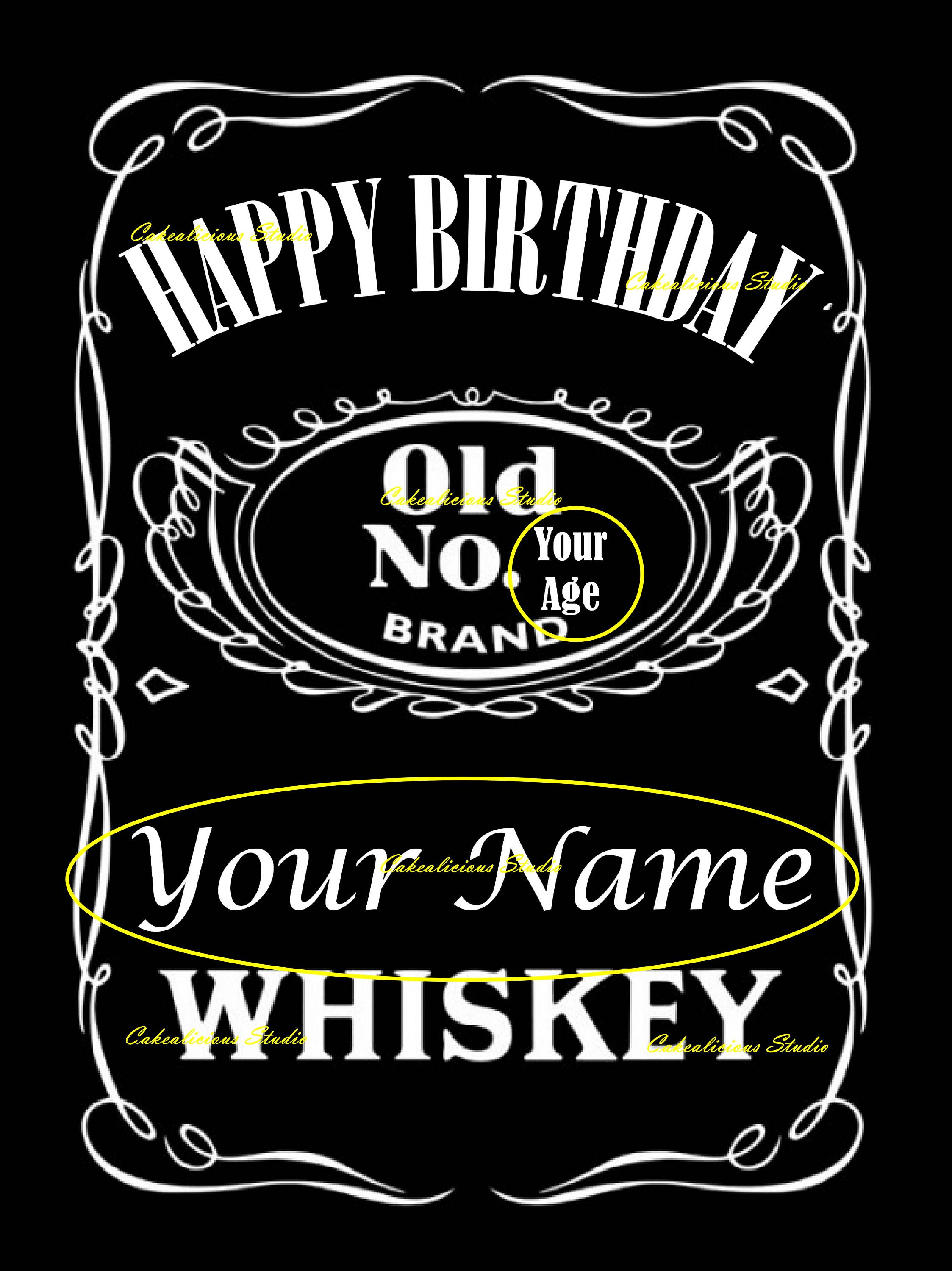 Personalized Happy Birthday Jack Daniels Whiskey Edible Icing