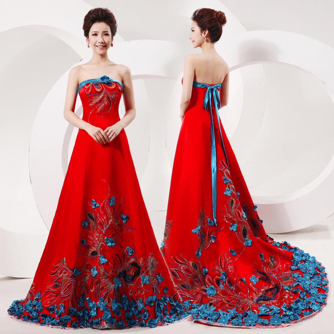 351b742e4c Strapless blue and red embroidered peacock feather evening gown Chinese  silk satin bridal wedding trailing dress