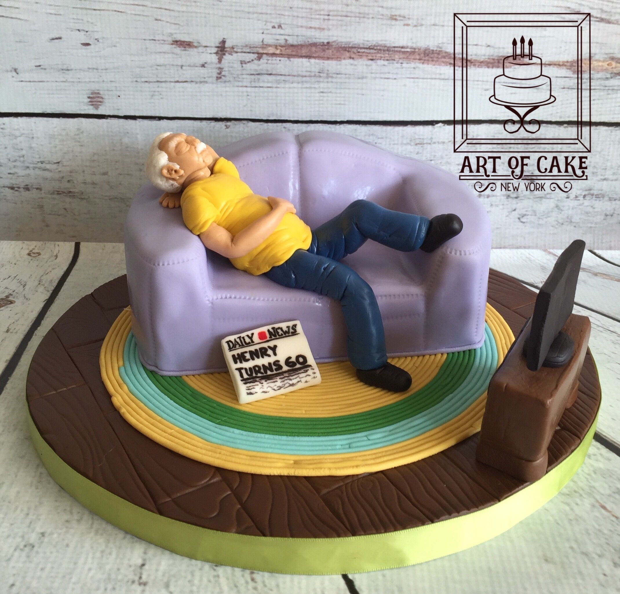 Fabulous 60Th Birthday Cake Old Man On A Couch Dad Birthday Cakes Funny Birthday Cards Online Overcheapnameinfo