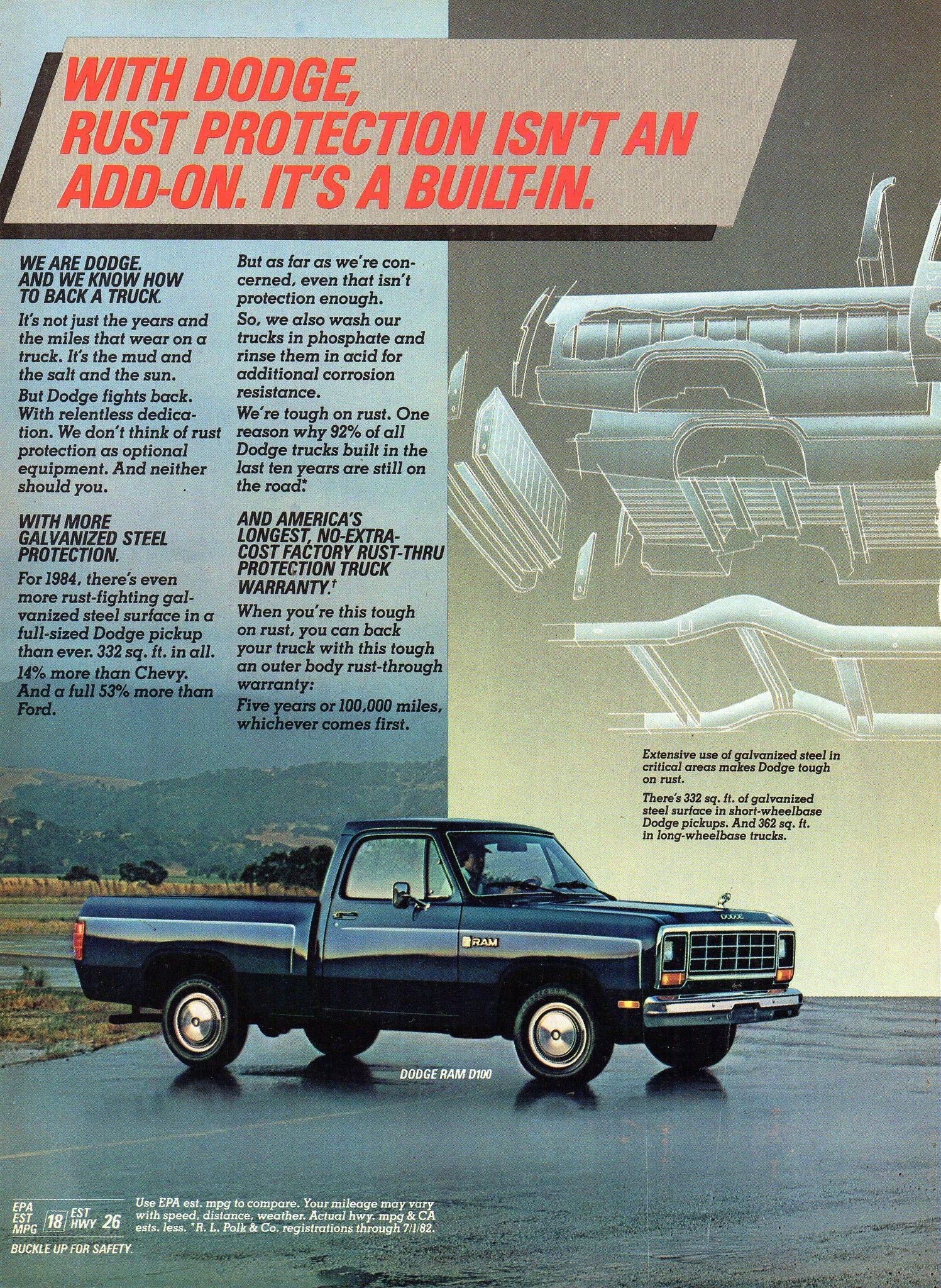 1984 Dodge Ram D100 D150 Pick Up Truck Page 2 Usa Original Magazine Advertisement Dodge Trucks Dodge Dodge Ram