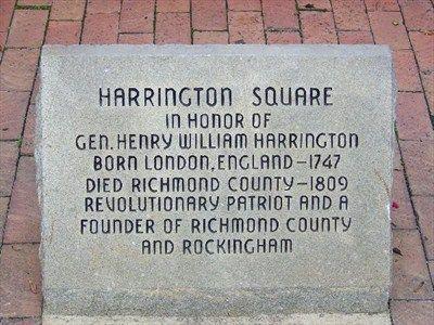 Harrington Square, the center of Rockingham NC, named for General Henry William Harrington, a Revolutionary War Patriot.