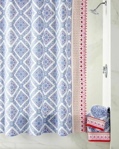 John Robshaw Mitta Periwinkle Shower Curtain In 2020 Designer