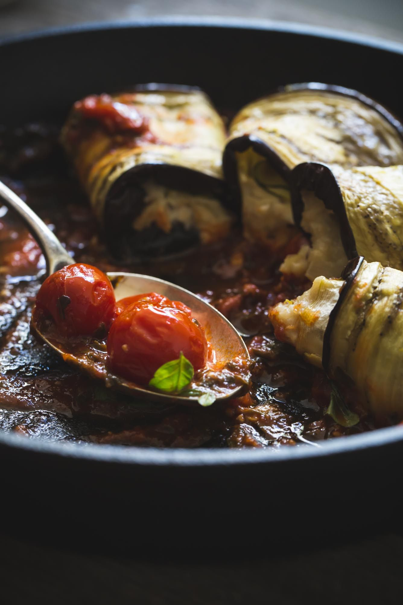 Vegan Eggplant Involtini With Sweet Onion Ricotta Recipe Sweet Onion Vegan Eggplant Baked Eggplant
