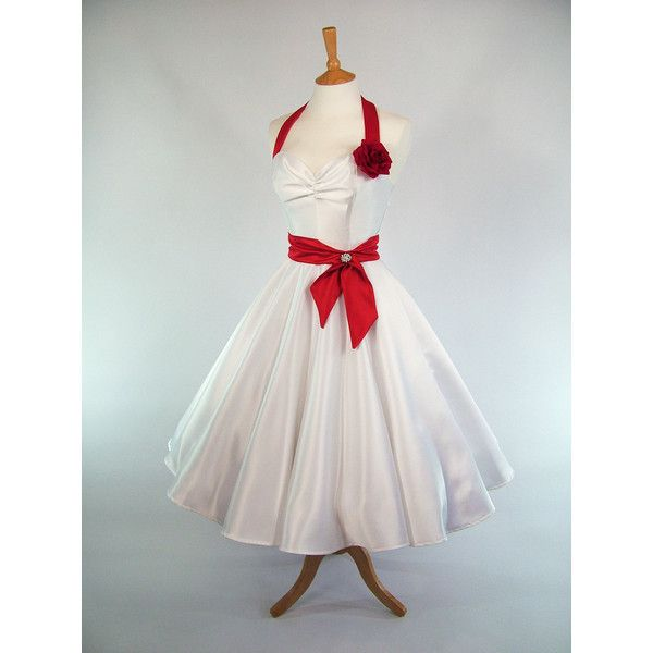 Made to Measure Red and White Duchess Satin Full Circle Skirt Wedding... (290 CAD) ❤ liked on Polyvore featuring dresses, silver, women's clothing, short slip, long slip and sash belt