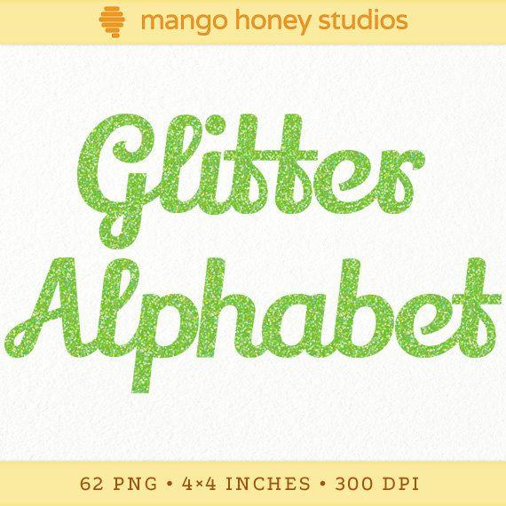 Lime Green Sparkle Alphabet Neon Glitter By Mangohoneystudios 5 00