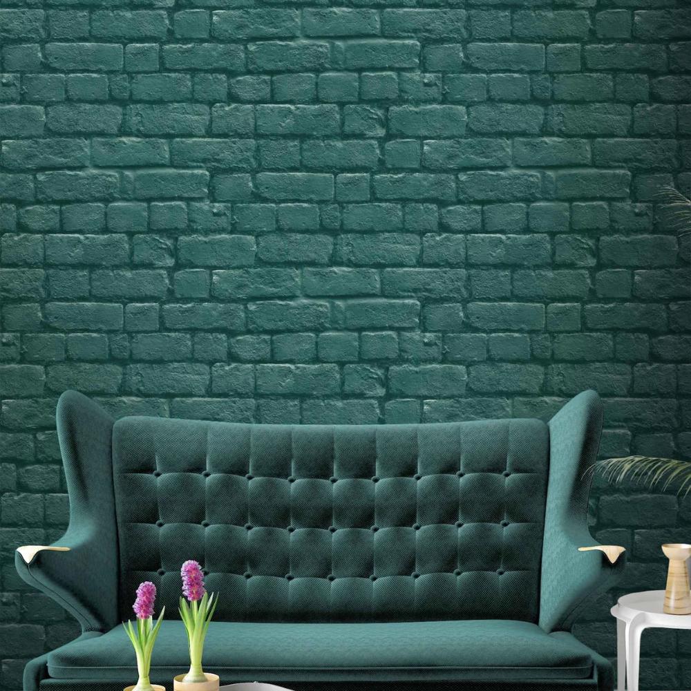 Deep Green Brick Effect Wallpaper in 2020 Cegła, Tapety