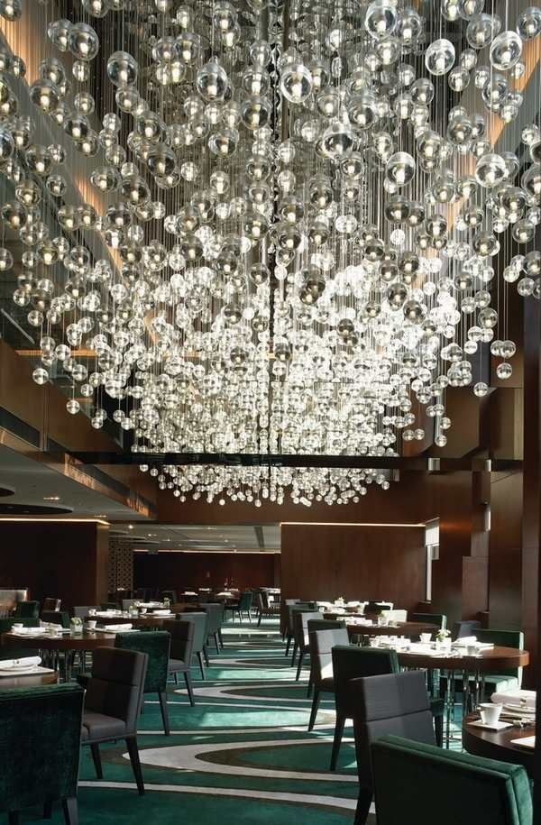 commercial lighting fixtures mid century modern restaurant spectacular glass pendants - Midcentury Restaurant Interior