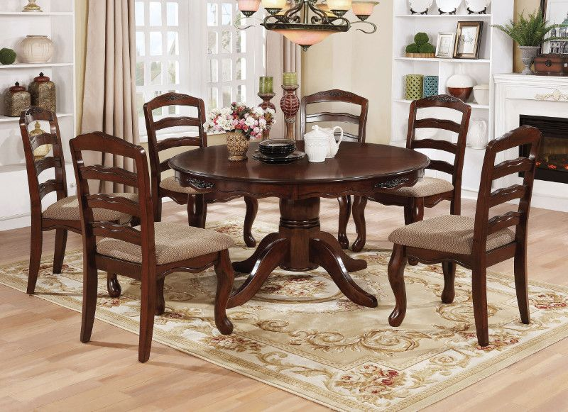 Cm3109rt 7 Pc Townsville Dark Walnut Finish Wood 54 Round Dining Table Set Round Dining Table Sets Round Dining Table Dining Table