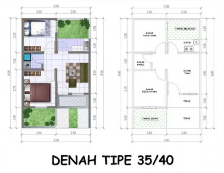 denah rumah type 36 dengan 3 kamar tidur