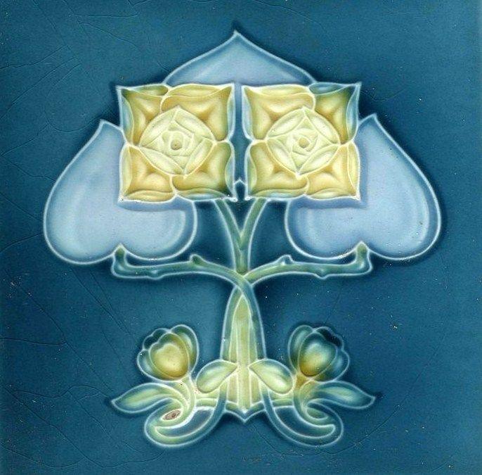Art Nouveau Art & Crafts - H & R.J. BLUE - 1900 - Ceramic Tile
