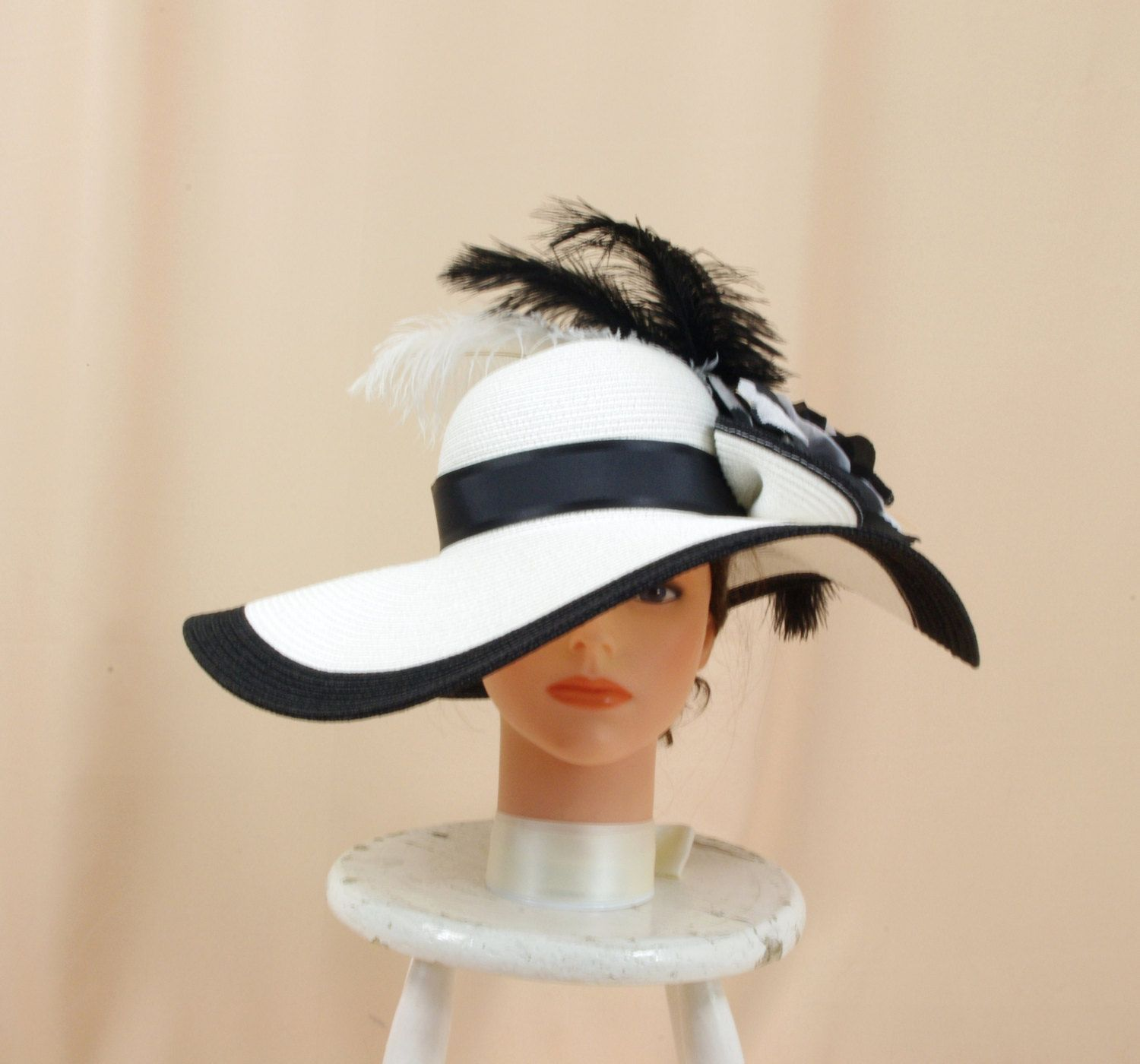 c798e4ce5b1 Extra Wide Brim Hat   Black and White Hat   White Floppy Hat   Church Hat   Kentucky  Derby Hat   Floral Hat   Ascot Hat   Derby Hat by englishrosedesignsoh ...