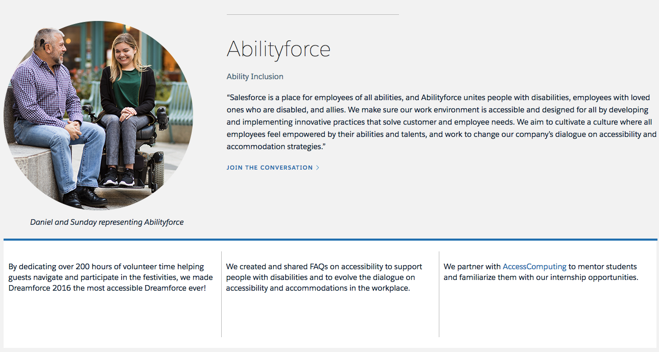 Salesforce is a place for employees of all abilities, and