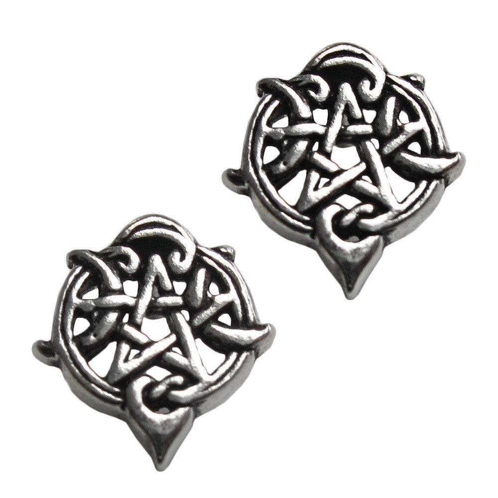 Silver Silver Heart Pentacle Stud Earrings